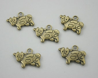 5 pcs Zinc Antique Brass Cow Ox Charms Jewelry Decorations Findings 16x21 mm.PND Cow 1621 354