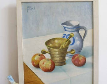 Original painting on canvas in wooden frame. Still life with, apples, mortar and Cologne pot.