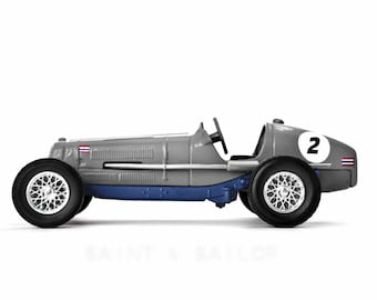 Grey With Chrome Wheels No.2 Vintage Race Car on White Background, One Photo Print, Boys Room decor, Vintage Car Prints