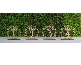 Set of 10 Freestanding Wooden Vine Style Table Numbers With Base