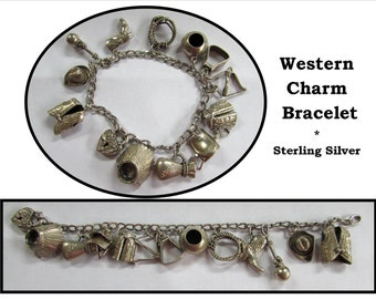 Vintage Sterling Silver Charm Bracelet, 40s, Western Theme, Indian, Cowboy
