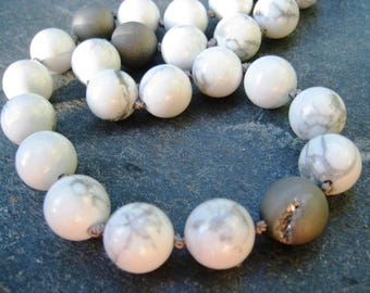 Howlite Necklace, Gray and White Necklace, Howlite Bead Necklace, marbled gemstone necklace, toggle clasp, druzy necklace, SweetTaBou