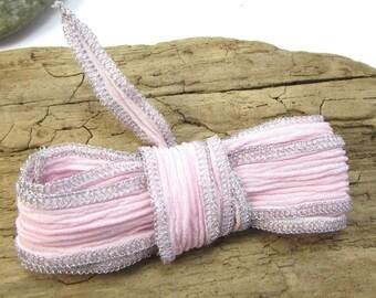 "Silk Ribbon, Pink Silk Ribbon with Metallic Silver Thread, 34"" inch Pink Ribbon, Made in USA, Beading Supplies, Item 1221R"