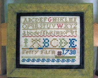 GW Ferry Farm 1738 by Sampler Girl Counted Cross Stitch Pattern/Chart