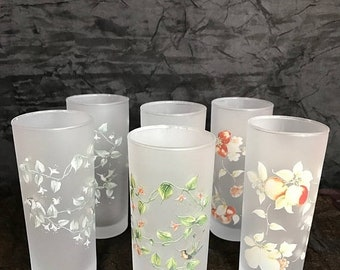 SPRING SALE Vintage Vintage Floral Frosted Highball Glasses- Set of 6 / Libbey Glasses ??