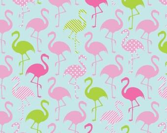 KNIT Springs Creative Flamingo Party Aqua Knit (Half metre)