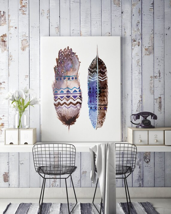 Boho feathers     Canvas art   Wall decor   Hippie art   Feathers   Dreamcatcher   Native americans art   art prints for sale   Watercolor