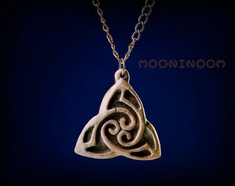 Pagan men triskele boy necklace Viking norse ceramic brown Triskelion pendant Celtic knot carving jewelry Druid jewellery Elven gift for him