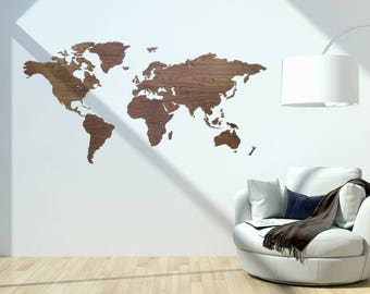 Wooden worldmap nut wood - wall decoration - 6mm thick - 200cm x 100cm - 15mm wall distance