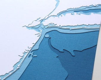 New Jersey Coastline - original 8 x 10 papercut art