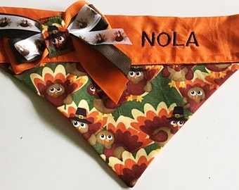 Thanksgiving Turkey Bandana for Dogs or Cats with Embroidered Name