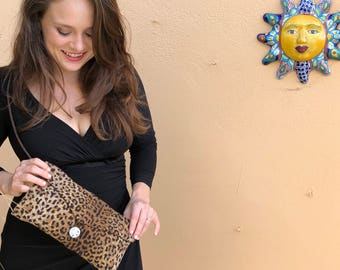 NO RULES Leopard Envelope Clutch