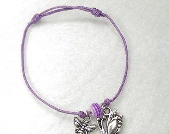 Purple Butterfly and bee cord bracelet