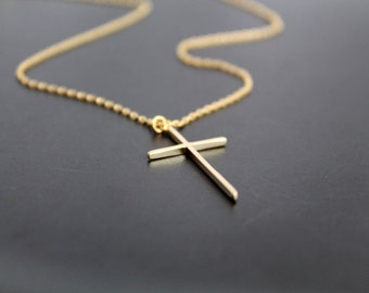 Simple Cross Necklace, Dainty Cross, Wedding, Bridesmaid Gift,