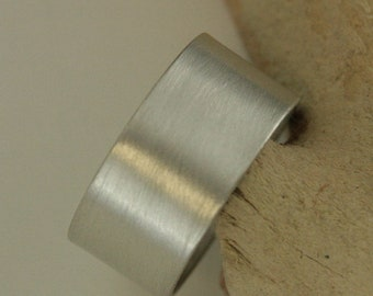 10mm Silver Band Wide Cigar Band Wide Flat Ring Modern Ring Minimalist Ring Brushed Silver Band Men's Wide Band Women's Wide Band Plain Ring
