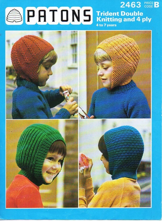 Original Childrens Dk 4ply Hats Helmets Balaclava Knitting Pattern