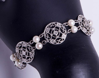 Sterling Filigree Bracelet - Cultured Pearls - Vintage Van Dell - Best Buy