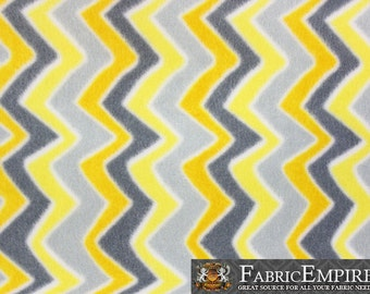 "Fleece Printed Fabric WAVY CHEVRON LEMON / 58"" Wide / Sold by the yard"