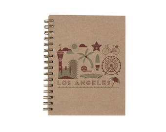 Los Angeles Journal - Notebook   Lined Pages   Spiral Bound   Letterpress   Hard Cover