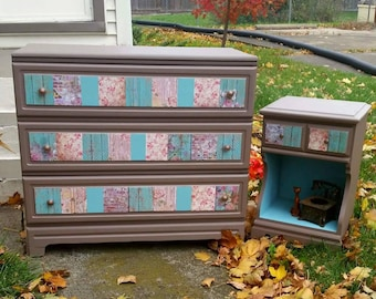 SOLD - Refinished solid wood country theme dresser and nightstand set, brown pink teal blue.