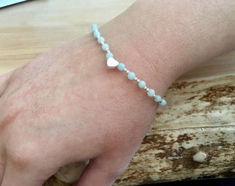 Sterling Silver and Amazonite Gemstone Dainty Bead Bracelet with Sterling Silver heart.