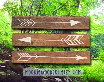 Wooden Arrows painted on Reclaimed Wood - 3 Piece Set (Small) Tribal, Arrow Decor, Decorative Arrow, Tribal Decor