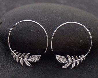 Silver Leaf Earrings - Nature Lover's Gift - Small Silver Hoop Earrings - Sterling Silver - Best Selling - Olive Leaf Jewelry - leaf drop