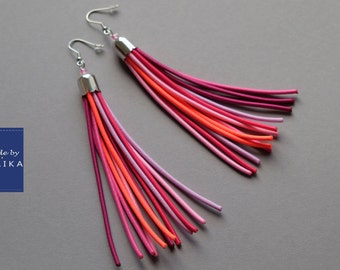 Long pink earrings, Statement earrings, Boho earrings, Tribal tassel earrings, Large tassel earrings, Long earrings, Fringe earrings, Pink
