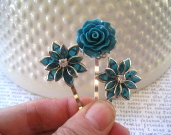 Teal Flower Hair Pin Set, Teal Green Bobby Pins, Set of 3, Rhinestone Hair Accessory, Wedding Hair Accessory, Small Gift, Stocking Stuffer,