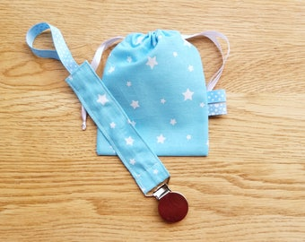 Pacifier and nipple turquoise blue cotton with white stars, attached star lollipop