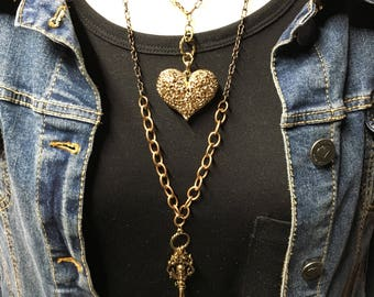 Keys & Heart Layered Neckalce