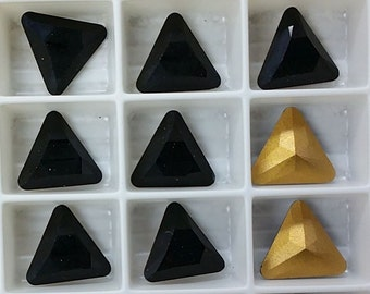 10mm Jet 4722 Triangle Swarovski Crystals (4)