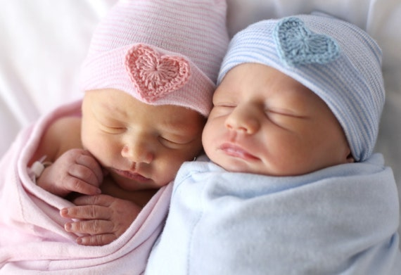 Twin baby hat twin newborn hat twin hospital hat twin hat