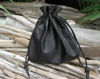 Leather  Drawstring Pouch Bag In Black New Extra Large Pouch - Camera Bag - Camera Lens