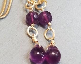 Amethyst Earrings / Amethyst Jewelry / Amethyst Gemstone / February Birthstone / Golden Brass Amethyst Earrings