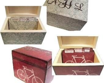 Recipe Box, Tab Dividers SET, Wood Decoupage Box, Kitchen Decor, Custom Designs, Recipe Holder, Recipe Organizer, Storage Box, MADE To ORDER