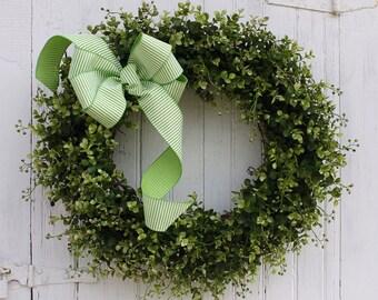 Spring Wreath, Summer Wreath, Front Door Wreath, Boxwood Wreath, Farmhouse Decor, Green Wreath, Outdoor Wreath, Greenery Wreath, Wreaths