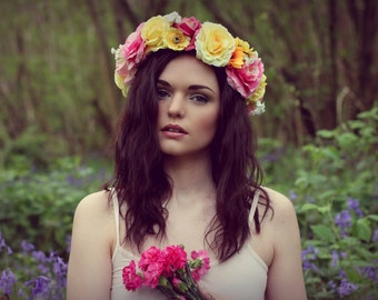 Halo meadow flower crown, rose hairband, circlet hair wreath, pink and yellow roses