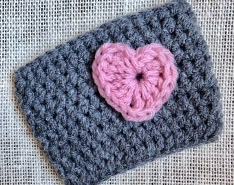 Gray Coffee Cozy/Drink Cozy with Pink Heart