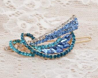 Golden turquoise blue hair pin, something blue, 20's hair pin, 20's headpiece, Edwardian hair pin, feather hair pin, Turquoise wedding