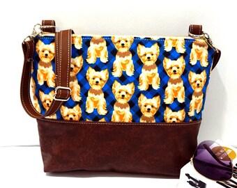 Crossbody Bag, Dog on Blue Plaid Crossbody Bag, Crossbody, Crossbody with Vegan Leather Trim, Zipper Shoulder Bag, Gift for her