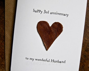 Th wedding anniversary card linen traditional gift handmade