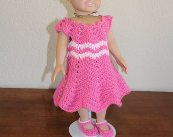 "AG pink dress, shoes, hat, undies, AG doll clothes, 18"" doll clothes, 18"" doll dress, 18"" doll dress, 18 inch doll dress, AG shoes, doll hat"