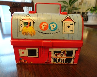 Fisher Price Toys, Barn Lunchbox, Fisher Price 549, 4280, Vintage Toy, Barnyard Lunchbox, Fisher Price l962, Plastic Lunchbox