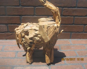 Driftwood Elephant statue / sculpture one of a kind