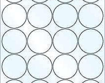 """10 sheets White Standard Inkjet/Laser round Self adhesive sheet OL375WX by 2 """"20 labels"""