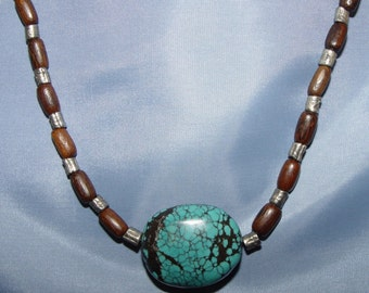 Turquoise, Wood Bead, Silver tone Bead, Necklace