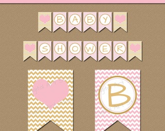 Pink and Gold Baby Shower Banner Instant Download - Gold and Pink Baby Shower Decorations - EDITABLE Baby Shower Banner Printable PDF - LPGC