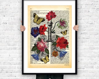 Anatomy human lungs dictionary poster-anatomy poster-lungs poster-lungs art print-lungs wall art-lungs on book page-NATURA PICTA NPS022