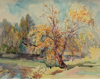 Digital Image, Lake in Concha Zaspa, Watercolor, Painting, Yellow, Orange, Brown, Day, Water, Autumn, Reflections, For print